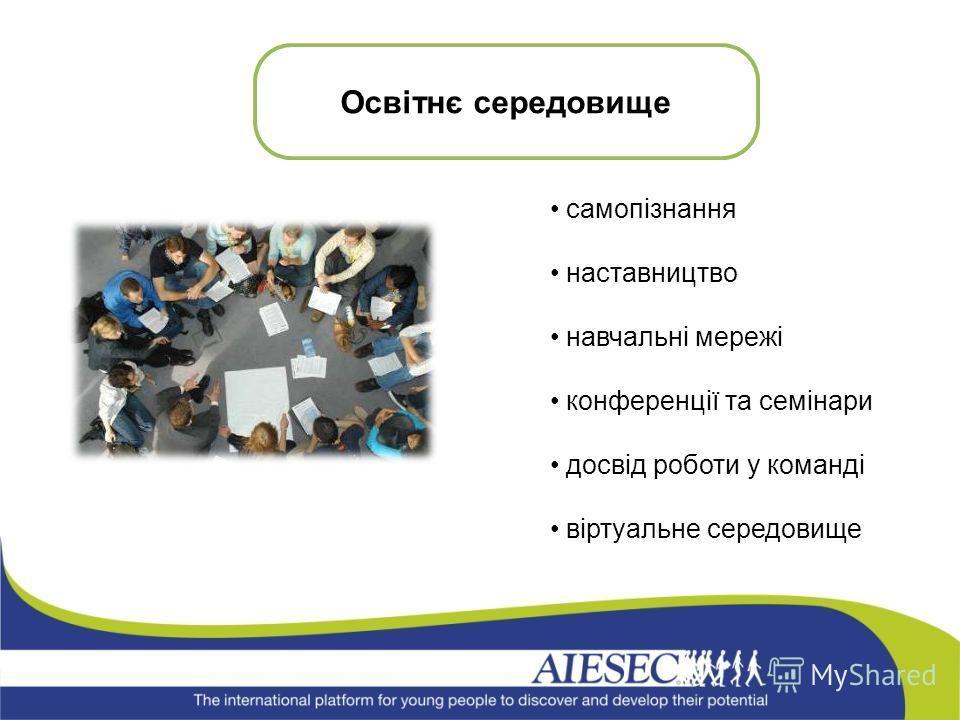 самопізнання наставництво навчальні мережі конференції та семінари досвід роботи у команді віртуальне середовище Освітнє середовище