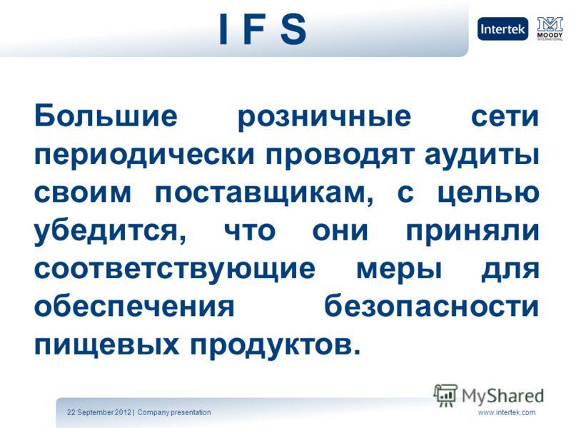 22 September 2012 | Company presentationwww.intertek.com I F SI F S Большие розничные сети периодически проводят аудиты своим поставщикам, с целью убедится, что они приняли соответствующие меры для обеспечения безопасности пищевых продуктов.