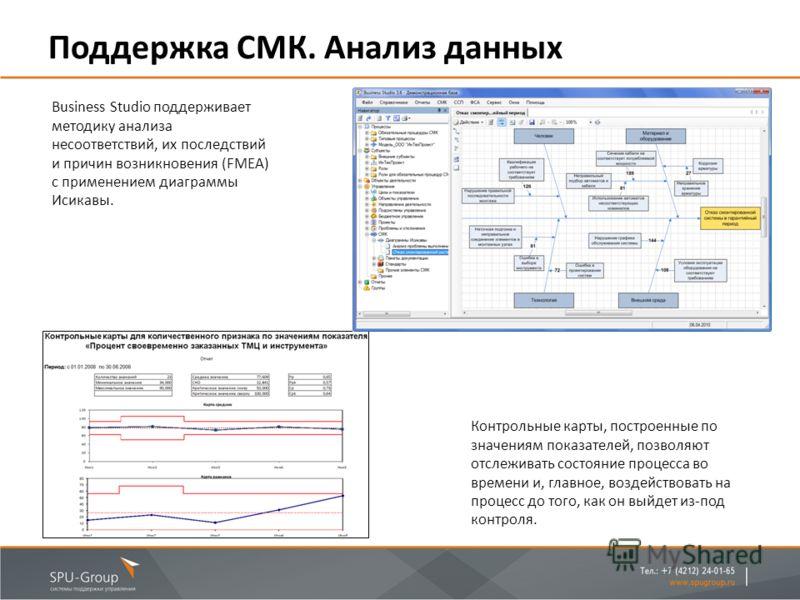 Поддержка СМК. Анализ данных Business Studio поддерживает методику анализа несоответствий, их последствий и причин возникновения (FMEA) с применением диаграммы Исикавы. Контрольные карты, построенные по значениям показателей, позволяют отслеживать со