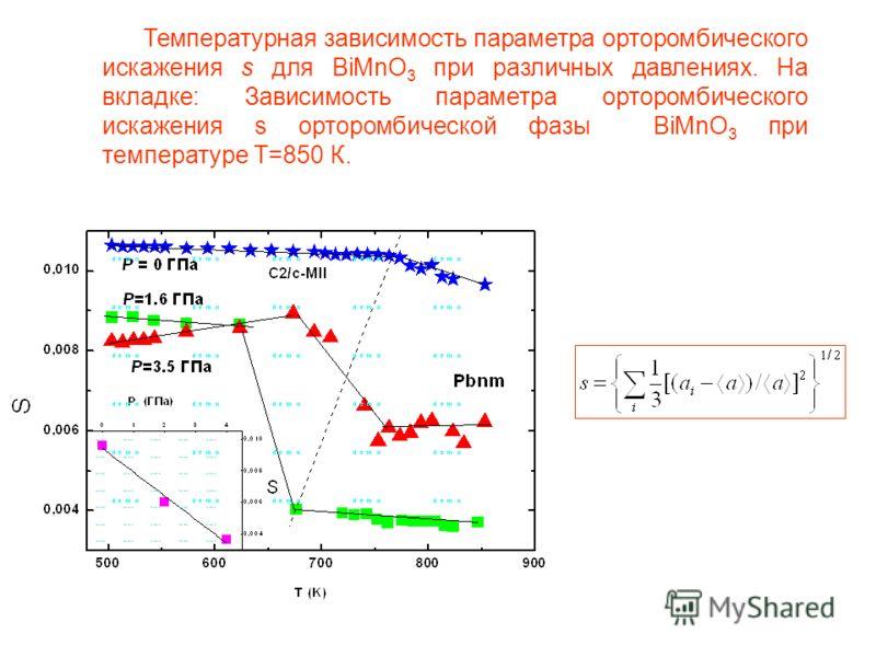 Температурная зависимость параметра орторомбического искажения s для BiMnO 3 при различных давлениях. На вкладке: Зависимость параметра орторомбического искажения s орторомбической фазы BiMnO 3 при температуре Т=850 К.
