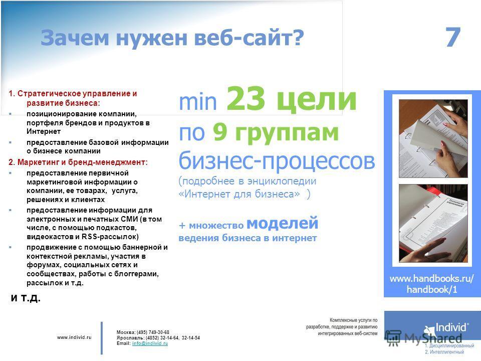www.individ.ru Москва: (495) 749-30-68 Ярославль: (4852) 32-14-64, 32-14-54 Email: info@individ.ruinfo@individ.ru Зачем нужен веб-сайт? 1. Стратегическое управление и развитие бизнеса: позиционирование компании, портфеля брендов и продуктов в Интерне