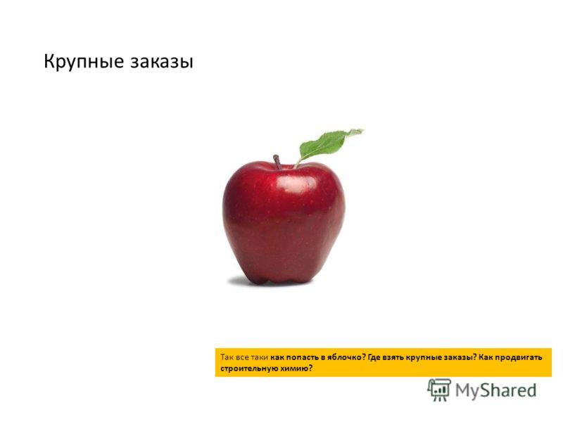 Крупные заказы Так все таки как попасть в яблочко? Где взять крупные заказы? Как продвигать строительную химию?