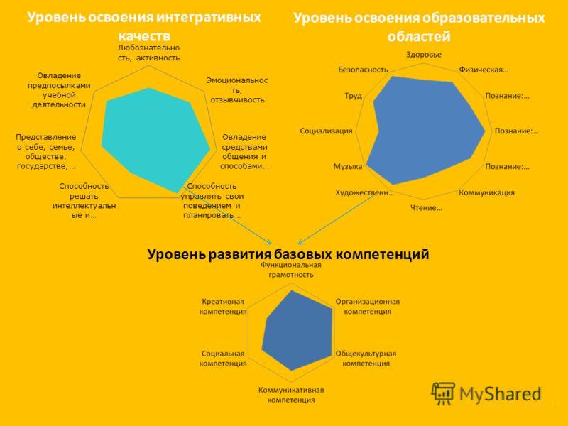 Уровень освоения интегративных качеств Уровень освоения образовательных областей Уровень развития базовых компетенций 14