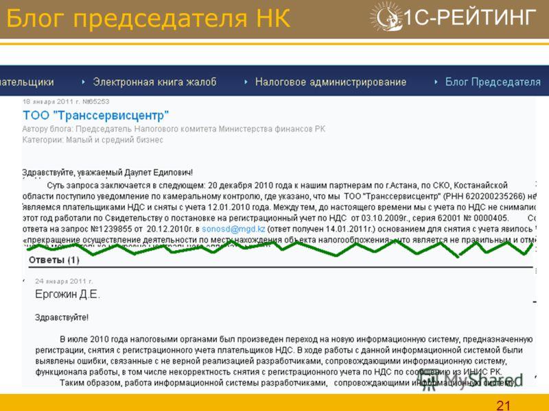 1С-РЕЙТИНГ 21 Блог председателя НК