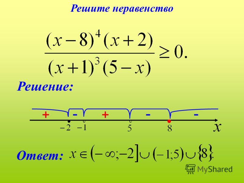 -- + Решение: Ответ: - + ++ Решите неравенство