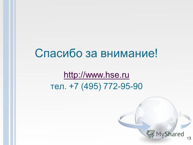 Спасибо за внимание! http://www.hse.ru тел. +7 (495) 772-95-90 13