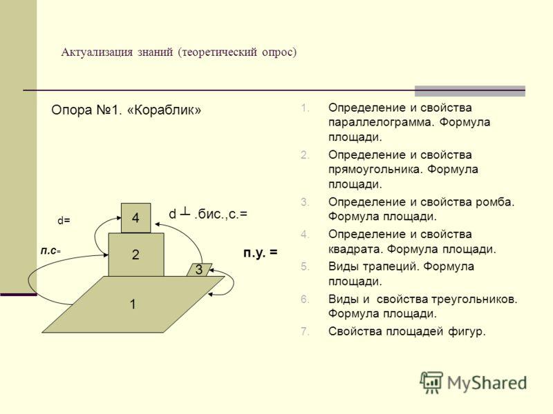 Актуализация знаний (теоретический опрос) 1. Определение и свойства параллелограмма. Формула площади. 2. Определение и свойства прямоугольника. Формула площади. 3. Определение и свойства ромба. Формула площади. 4. Определение и свойства квадрата. Фор