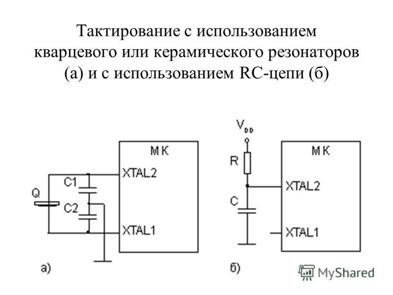 Тактирование с использованием кварцевого или керамического резонаторов (а) и с использованием RC-цепи (б)