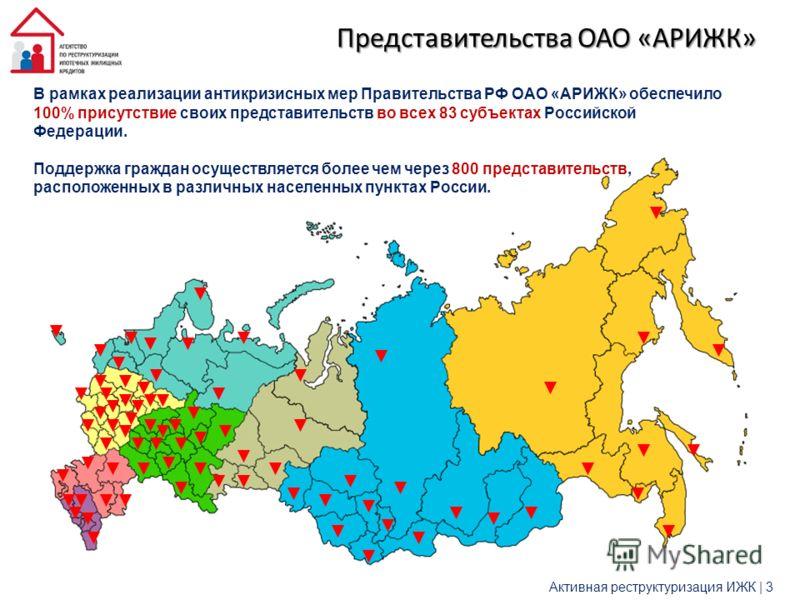 В рамках реализации антикризисных мер Правительства РФ ОАО «АРИЖК» обеспечило 100% присутствие своих представительств во всех 83 субъектах Российской Федерации. Поддержка граждан осуществляется более чем через 800 представительств, расположенных в ра