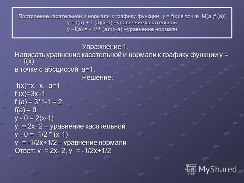 Построение касательной и нормали к графику функции у = f(x) в точке Мٍ(а ٍ;f (аٍٍ))ٍ y = f(a) + f '(a)(x-a) –уравнение касательной y - f(a) = - 1/ f '(a)*(x-a) –уравнение нормали Упражнение 1. Упражнение 1. Написать уравнение касательной и нормали к