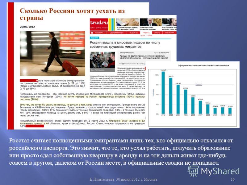 Е. Пинтелеева 30 июня 2012 г. Москва 16 Росстат считает полноценными эмигрантами лишь тех, кто официально отказался от российского паспорта. Это значит, что те, кто уехал работать, получать образование или просто сдал собственную квартиру в аренду и