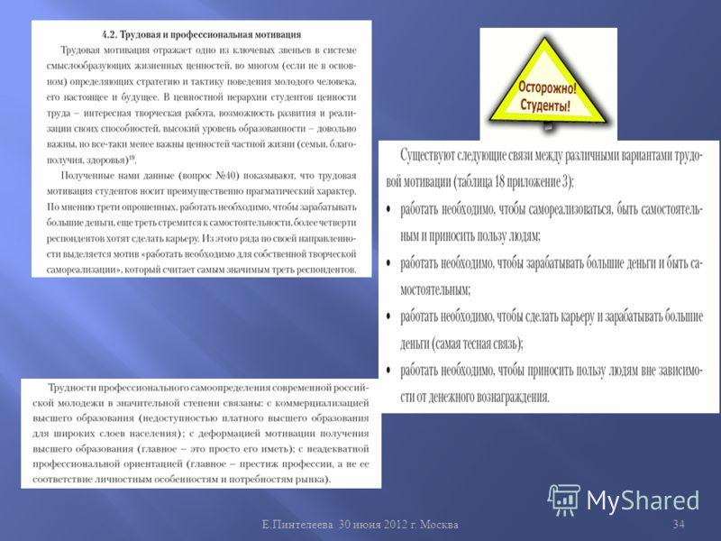 Е. Пинтелеева 30 июня 2012 г. Москва 34
