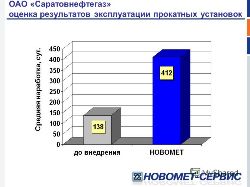 ОАО «Саратовнефтегаз» оценка результатов эксплуатации прокатных установок Средняя наработка, сут.