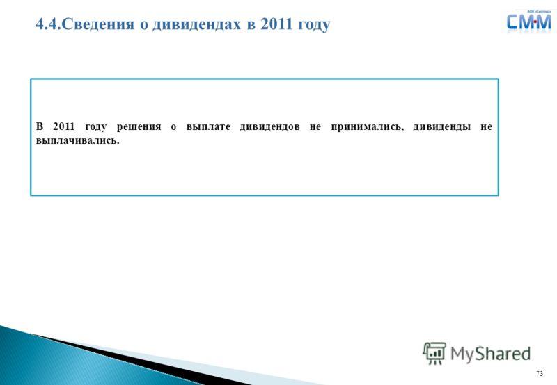 Логотип ДЗК 73 4.4.Сведения о дивидендах в 2011 году В 2011 году решения о выплате дивидендов не принимались, дивиденды не выплачивались.