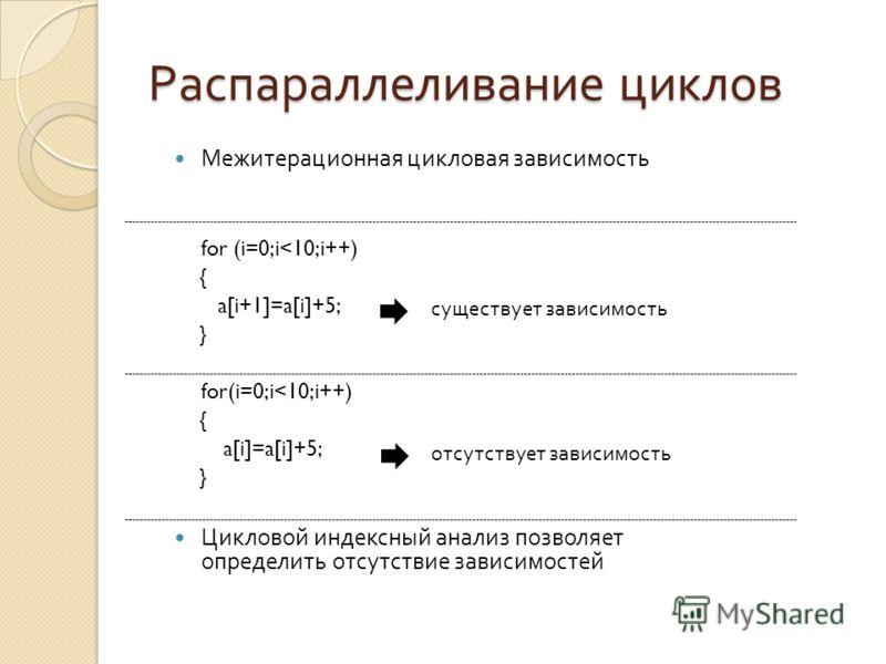 Распараллеливание циклов Межитерационная цикловая зависимость for (i=0;i