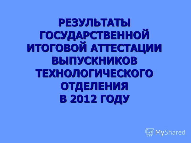 РЕЗУЛЬТАТЫ ГОСУДАРСТВЕННОЙ ИТОГОВОЙ АТТЕСТАЦИИ ВЫПУСКНИКОВ ТЕХНОЛОГИЧЕСКОГО ОТДЕЛЕНИЯ В 2012 ГОДУ