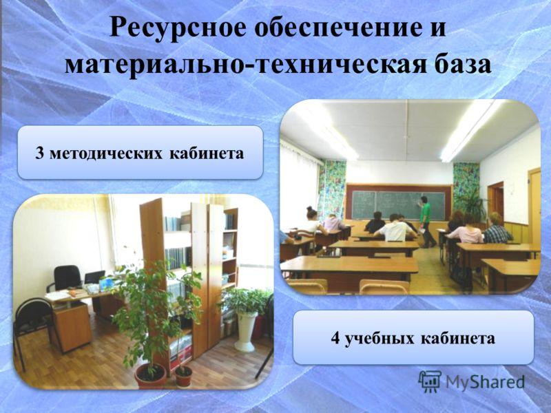 Ресурсное обеспечение и материально-техническая база 4 учебных кабинета3 методических кабинета