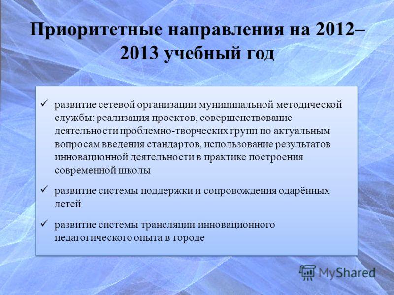 Приоритетные направления на 2012– 2013 учебный год развитие сетевой организации муниципальной методической службы: реализация проектов, совершенствование деятельности проблемно-творческих групп по актуальным вопросам введения стандартов, использовани