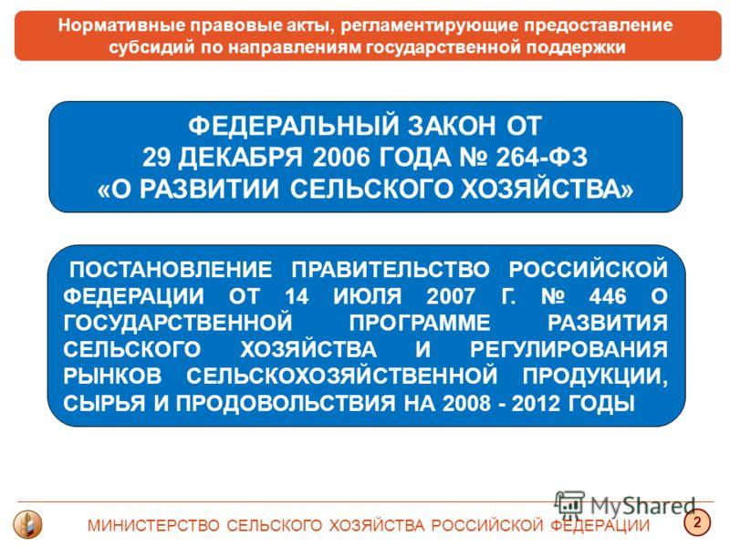 Нормативные правовые акты, регламентирующие предоставление субсидий по направлениям государственной поддержки ФЕДЕРАЛЬНЫЙ ЗАКОН ОТ 29 ДЕКАБРЯ 2006 ГОДА 264-ФЗ «О РАЗВИТИИ СЕЛЬСКОГО ХОЗЯЙСТВА» ПОСТАНОВЛЕНИЕ ПРАВИТЕЛЬСТВО РОССИЙСКОЙ ФЕДЕРАЦИИ ОТ 14 ИЮЛ