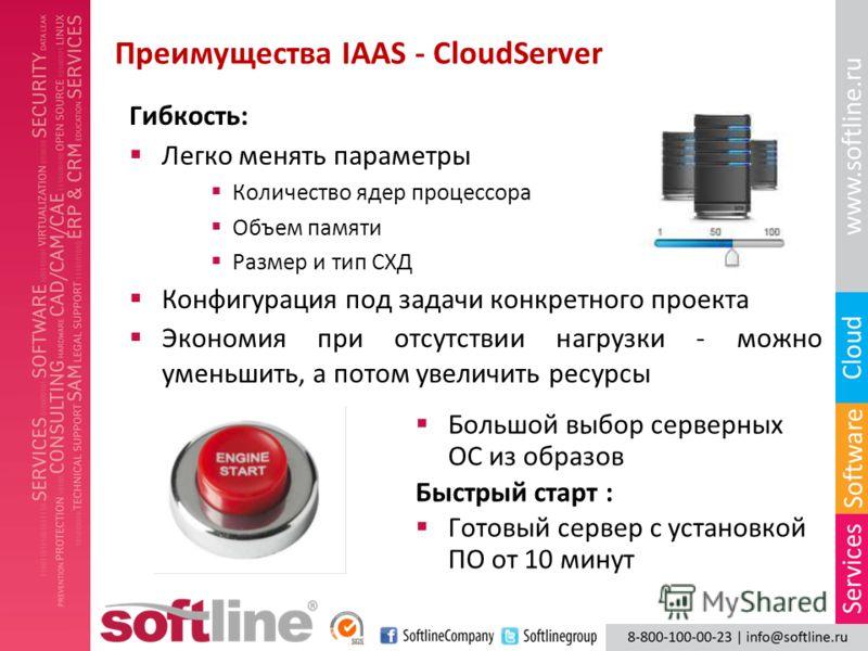 Преимущества IAAS - CloudServer Большой выбор серверных ОС из образов Быстрый старт : Готовый сервер с установкой ПО от 10 минут Гибкость: Легко менять параметры Количество ядер процессора Объем памяти Размер и тип СХД Конфигурация под задачи конкрет