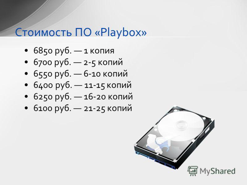 6850 руб. 1 копия 6700 руб. 2-5 копий 6550 руб. 6-10 копий 6400 руб. 11-15 копий 6250 руб. 16-20 копий 6100 руб. 21-25 копий Стоимость ПО «Playbox»