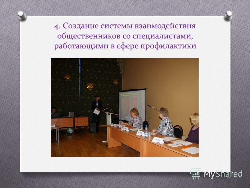 4. Создание системы взаимодействия общественников со специалистами, работающими в сфере профилактики