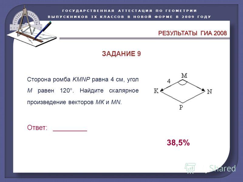 ГОСУДАРСТВЕННАЯ АТТЕСТАЦИЯ ПО ГЕОМЕТРИИ ВЫПУСКНИКОВ IX КЛАССОВ В НОВОЙ ФОРМЕ В 2009 ГОДУ Сторона ромба KMNP равна 4 см, угол М равен 120°. Найдите скалярное произведение векторов МК и МN. Ответ: _________ 38,5% ЗАДАНИЕ 9 РЕЗУЛЬТАТЫ ГИА 2008