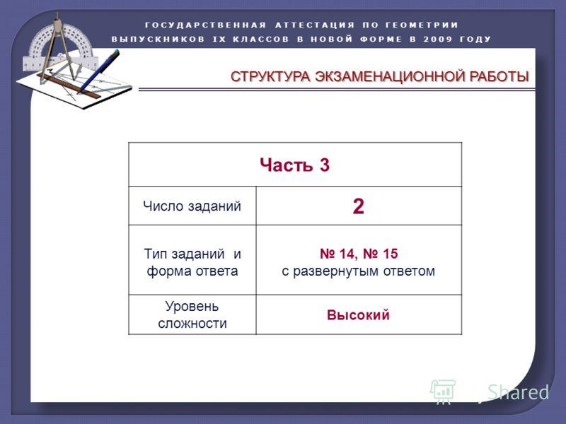 ГОСУДАРСТВЕННАЯ АТТЕСТАЦИЯ ПО ГЕОМЕТРИИ ВЫПУСКНИКОВ IX КЛАССОВ В НОВОЙ ФОРМЕ В 2009 ГОДУ Часть 3 Число заданий 2 Тип заданий и форма ответа 14, 15 с развернутым ответом Уровень сложности Высокий СТРУКТУРА ЭКЗАМЕНАЦИОННОЙ РАБОТЫ