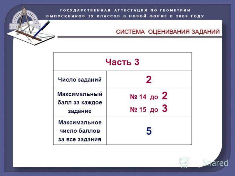 ГОСУДАРСТВЕННАЯ АТТЕСТАЦИЯ ПО ГЕОМЕТРИИ ВЫПУСКНИКОВ IX КЛАССОВ В НОВОЙ ФОРМЕ В 2009 ГОДУ Часть 3 Число заданий 2 Максимальный балл за каждое задание 14 до 2 15 до 3 Максимальное число баллов за все задания 5 CИСТЕМА ОЦЕНИВАНИЯ ЗАДАНИЙ
