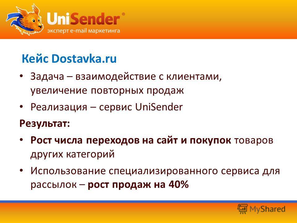 Кейс Dostavka.ru Задача – взаимодействие с клиентами, увеличение повторных продаж Реализация – сервис UniSender Результат: Рост числа переходов на сайт и покупок товаров других категорий Использование специализированного сервиса для рассылок – рост п