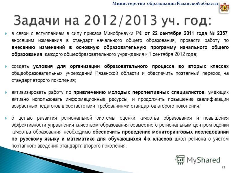 в связи с вступлением в силу приказа Минобрнауки РФ от 22 сентября 2011 года 2357, вносящим изменения в стандарт начального общего образования, провести работу по внесению изменений в основную образовательную программу начального общего образования к