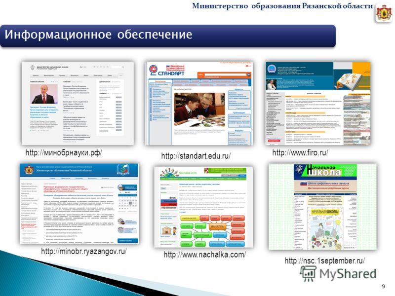 Министерство образования Рязанской области 9 Информационное обеспечение http://www.firo.ru/ http://standart.edu.ru/ http://minobr.ryazangov.ru/ http://минобрнауки.рф/ http://www.nachalka.com/ http://nsc.1september.ru/
