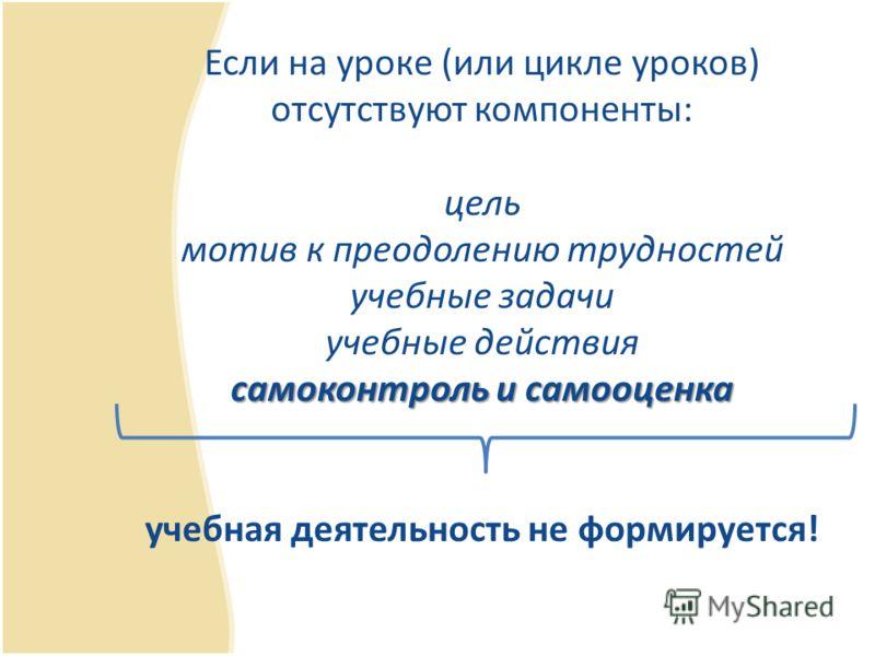 самоконтроль и самооценка Если на уроке (или цикле уроков) отсутствуют компоненты: цель мотив к преодолению трудностей учебные задачи учебные действия самоконтроль и самооценка учебная деятельность не формируется!