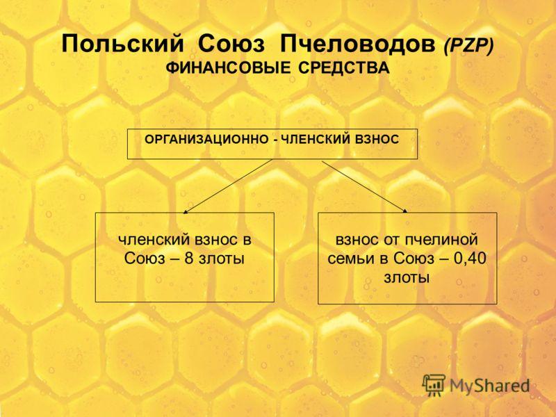 Польский Союз Пчеловодов (PZP) ФИНАНСОВЫЕ СРЕДСТВА ОРГАНИЗАЦИОННО - ЧЛЕНСКИЙ ВЗНОС членский взнос в Союз – 8 злоты взнос от пчелиной семьи в Союз – 0,40 злоты