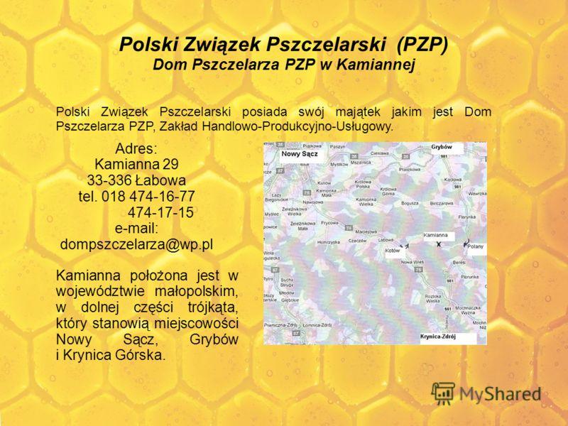 Polski Związek Pszczelarski (PZP) Dom Pszczelarza PZP w Kamiannej Polski Związek Pszczelarski posiada swój majątek jakim jest Dom Pszczelarza PZP, Zakład Handlowo-Produkcyjno-Usługowy. Adres: Kamianna 29 33-336 Łabowa tel. 018 474-16-77 474-17-15 e-m