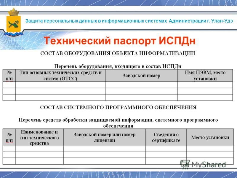 Защита персональных данных в информационных системах Администрации г. Улан-Удэ Технический паспорт ИСПДн