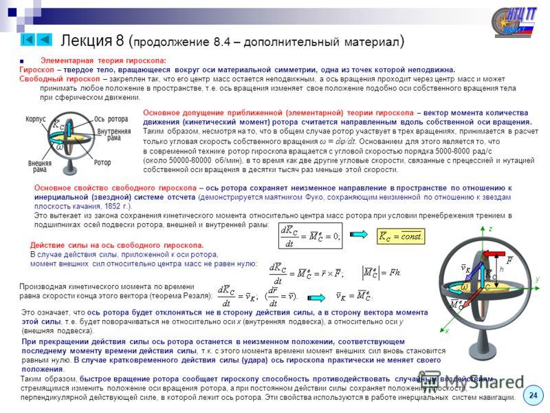Лекция 8 ( продолжение 8.4 – дополнительный материал ) 2424 Элементарная теория гироскопа: Гироскоп – твердое тело, вращающееся вокруг оси материальной симметрии, одна из точек которой неподвижна. Свободный гироскоп – закреплен так, что его центр мас