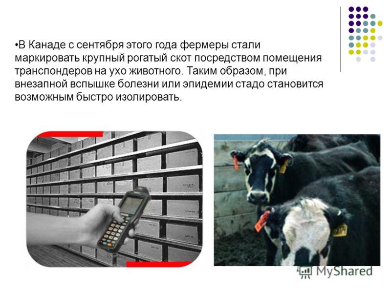 В Канаде с сентября этого года фермеры стали маркировать крупный рогатый скот посредством помещения транспондеров на ухо животного. Таким образом, при внезапной вспышке болезни или эпидемии стадо становится возможным быстро изолировать.