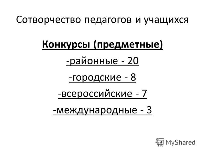 Сотворчество педагогов и учащихся Конкурсы (предметные) -районные - 20 -городские - 8 -всероссийские - 7 -международные - 3