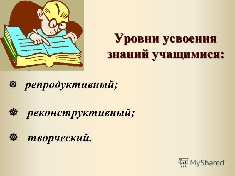 Уровни усвоения знаний учащимися: Уровни усвоения знаний учащимися: ] репродуктивный; ] реконструктивный; ] творческий.