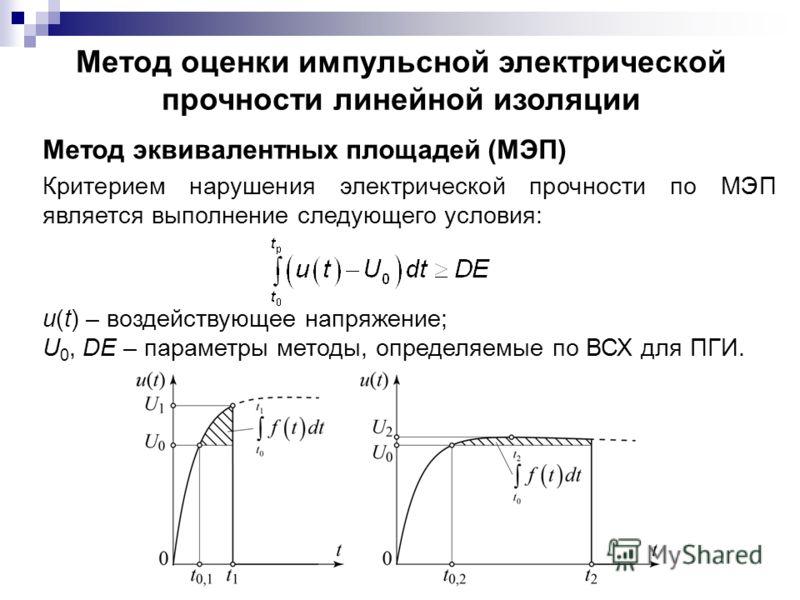 Метод эквивалентных площадей (МЭП) Критерием нарушения электрической прочности по МЭП является выполнение следующего условия: u(t) – воздействующее напряжение; U 0, DE – параметры методы, определяемые по ВСХ для ПГИ. Метод оценки импульсной электриче