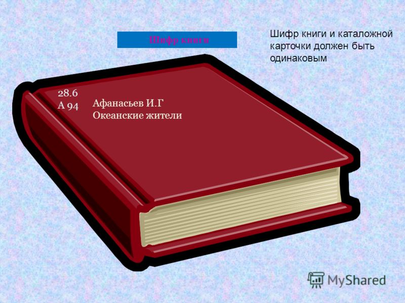 Шифр книги 28.6 А 94 Афанасьев И.Г Океанские жители Шифр книги и каталожной карточки должен быть одинаковым