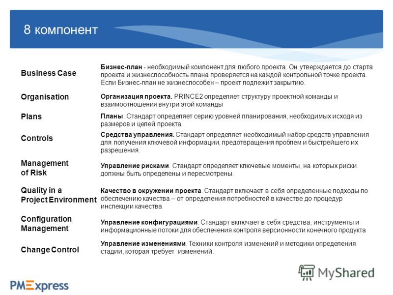 8 компонент Business Case Plans Controls Management of Risk Quality in a Project Environment Configuration Management Change Control Бизнес-план - необходимый компонент для любого проекта. Он утверждается до старта проекта и жизнеспособность плана пр