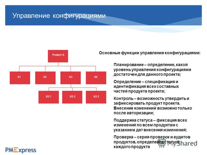 Управление конфигурациями Основные функции управления конфигурациями: Планирование – определение, какой уровень управления конфигурациями достаточен для данного проекта; Определение – спецификация и идентификация всех составных частей продукта проект