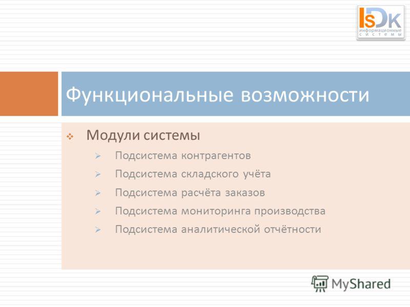 Модули системы Подсистема контрагентов Подсистема складского учёта Подсистема расчёта заказов Подсистема мониторинга производства Подсистема аналитической отчётности Функциональные возможности