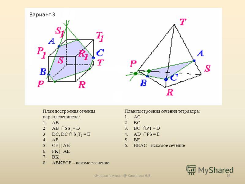 г.Невинномысск @ Киктенко Н.В.16 План построения сечения параллелепипеда: 1.AB 2.AB SS 1 = D 3.DC, DC S 1 T 1 = E 4.AE 5.CF     AB 6.FK     AE 7.BK 8.ABKFCE – искомое сечение План построения сечения тетраэдра: 1.AC 2.BC 3.BC PT = D 4.AD PS = E 5.BE 6