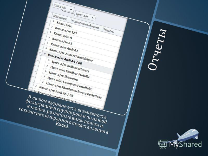 Отчеты В любом журнале есть возможность фильтрации и группировки по любой колонке, различные виды поиска и сохранение выбранного представления в Excel.