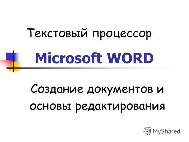 Microsoft WORD Создание документов и основы редактирования Текстовый процессор