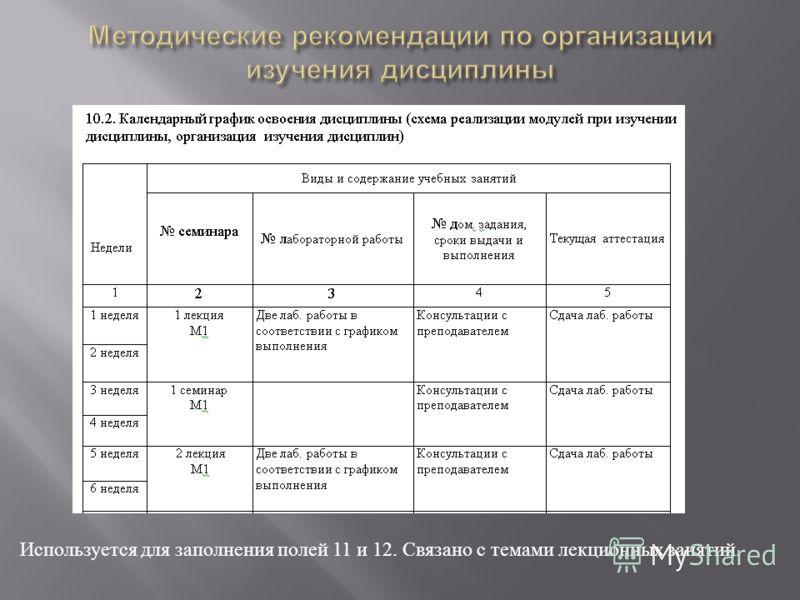 Используется для заполнения полей 11 и 12. Связано с темами лекционных занятий.
