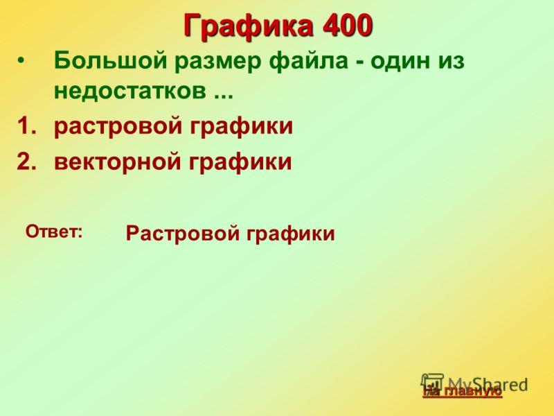 Графика 400 Большой размер файла - один из недостатков... 1.растровой графики 2.векторной графики Ответ: Растровой графики На главную На главную